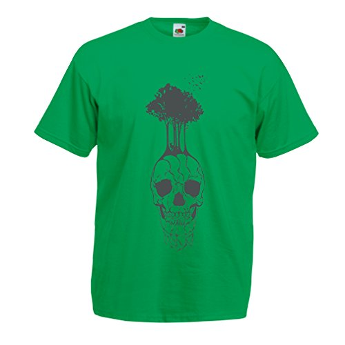 lepni.me N4341 T Shirts for Men The Skull and The Tree (Medium Green Multi Color) -