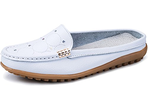 Uown Women's Casual Slip On Leather Mule Shoes Flat White