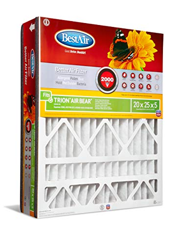 BestAir AB2025-11R Air Cleaning Furnace Filter, MERV 11, For Trion Air Bear, Supreme, Skuttle, GeneralAire, Source1, Ultravation & Braeburn Models, 20' x 25' x 5', Single Pack