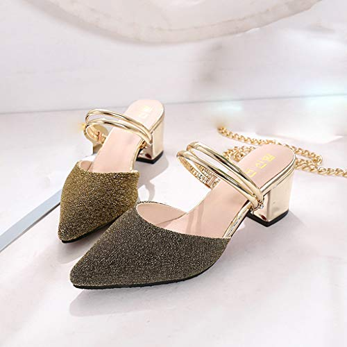 f58399fc582e Kasien Fashion Women s Sequins Pointed Shoes High Heel Slippers Casual  Ladies  Sandals