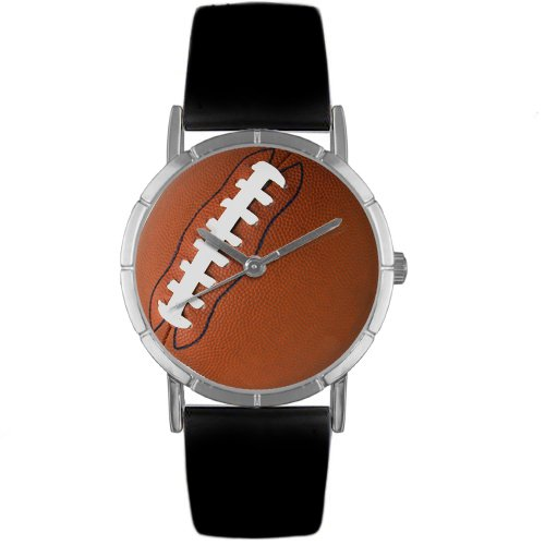 Whimsical Watches Kids' R0840017 Classic Football Lover Black Leather And Silvertone Photo Watch
