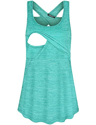 Quinee Nursing Tank Tops for Breastfeeding, Women Loose Fresh Maternity Shirts Sexy Open Back Sleeveless Scoop Neck Double Layer Slimming Camisole Cute Breathable Tunic Green S