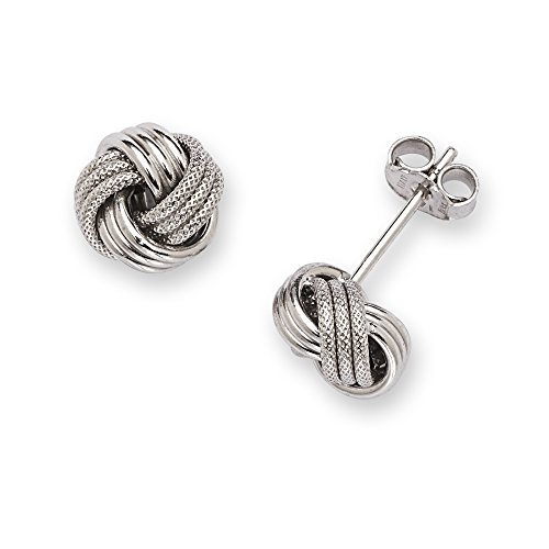 14k White Gold Polish Textured 8mm Love Knot Earrings - JewelryWeb by JewelryWeb (Image #4)