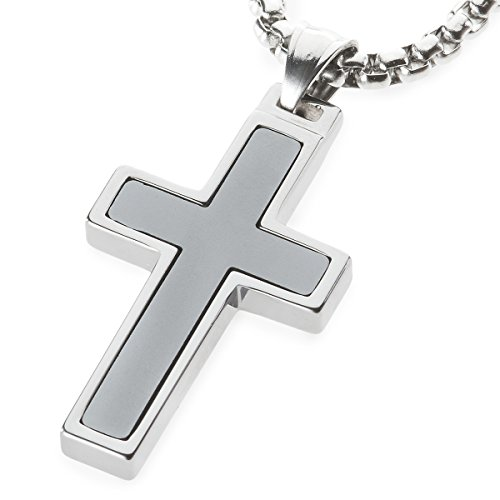 Unique GESTALT Hematite Inlay Tungsten Cross Pendant. 4mm wide Surgical Stainless Steel Box Chain. 22 Inch Length