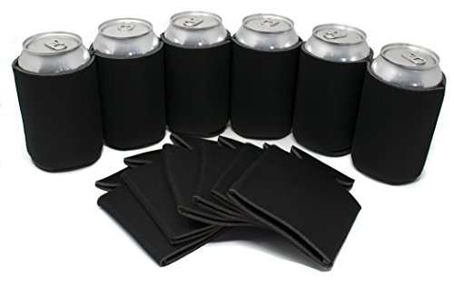 TahoeBay 12 Can Sleeves - Black Beer Coolies for Cans and Bottles - Bulk Blank Drink Coolers – Create Custom Wedding Favor, Funny Party Gift (12-Pack)