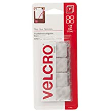 VELCRO Brand-Thin Clear Fasteners-7/8-Inch Squares, 12 Sets-Clear