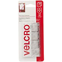 """VELCRO(R) Brand Thin Fasteners Squares 7/8"""" 12/Pkg, Clear"""