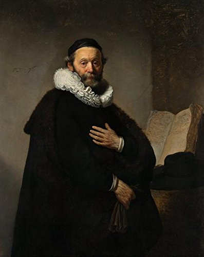 'Rembrandt Harmenszoon Van Rijn-Portrait Of Johannes Wtenbogaert,1633' Oil Painting, 18x23 Inch / 46x58 Cm ,printed On High Quality Polyster Canvas ,this High Quality Art Decorative Prints On Canvas Is Perfectly Suitalbe For Powder Room Decoration And Home Decor And Gifts
