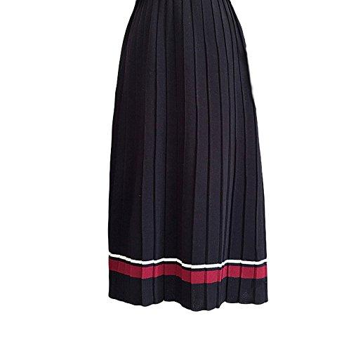 PESTANIX PSETANIX Women Winter Thicken High Waist Pleat Knitted Skirt Striped A-line Maxi Skirts - Pleats Striped Skirt