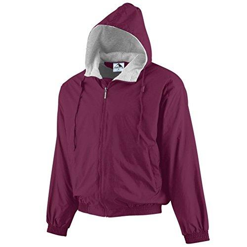Augusta Activewear Youth Hooded Taffeta Jacket/Fleece Lined, Maroon, Small