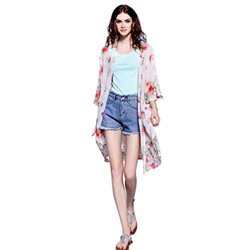 UBuyit Women Fashion Floral Print Chiffon Long Style Kimono Cardigan Top Cover up Shirt Shawl Blouse (Red, L)