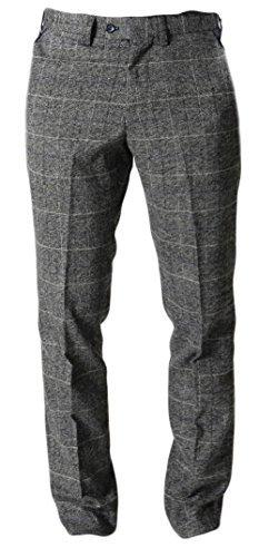 Uomo Marc Darcy Dressy A Quadretti Pantaloni - Scott Grigio