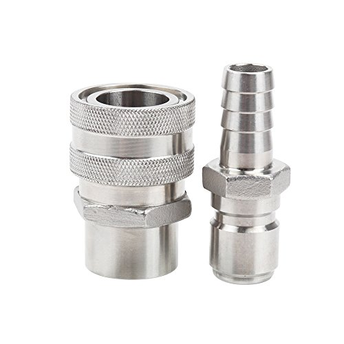 MRbrew Quick Disconnect 304 Stainless Steel Set 1/2'' FPT Female 1/2'' Male Barb (1/2'' FPT Female,1/2'' Male Barb) by MRbrew