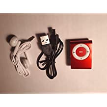 (Red) MINI Clip MP3 Player with Earphones and Mini Usb Cable with card slot Supports up to 8GB MicroTF card