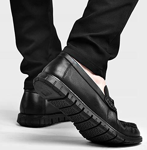 Casual Fashion Da Leather Uomo Brown Black Business Black Scarpe MYXUA Mocassini Lazy Shoes IOv5B