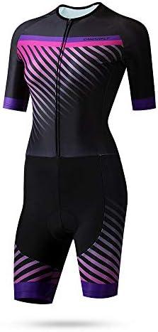 サイクルジャージ 女性のトライアスロンスーツ夏サイクリング服サイクリング服レディーススケートスーツ通気性UV保護 吸汗速乾高通気 (色 : 紫の, サイズ : XXL)