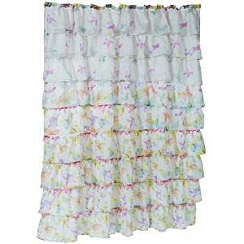Carnation Home Fashions  Carmen  Crushed Voile Fabric Shower Curtains with  Ruffled Tiers  Butterfly  70 by 72 InchAmazon com  Ex Cell Home Fashions By Appointment Poppies EVA  . Yellow And Teal Shower Curtain. Home Design Ideas
