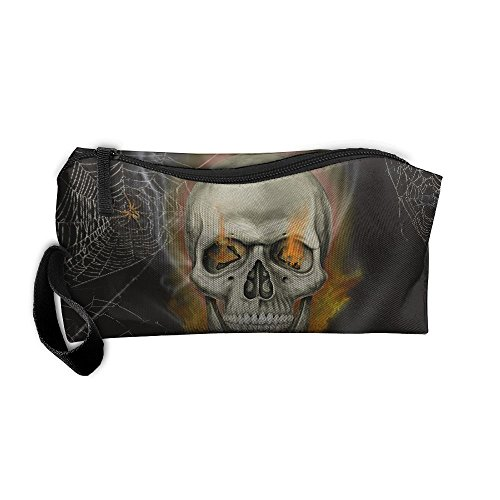 Cosmetic Bags With Zipper Makeup Bag Spider Skull With Fire Eyes Middle Wallet Hangbag Wristlet Holder ()