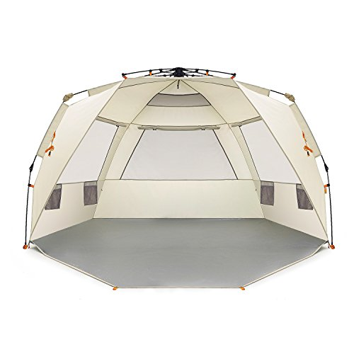 Easthills Outdoors Instant Shader Deluxe XL Easy Up 4 Person Beach Tent Sun Shelter - Extended Zippered Porch ()