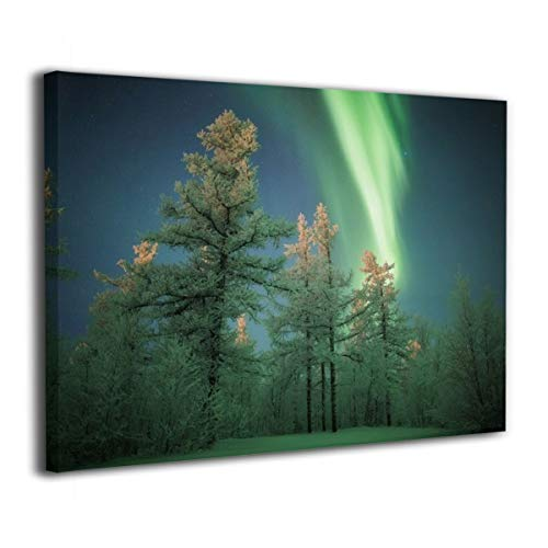 Henry Huxley Wall Art Decor Painting On Canvas Print, Aurora Green Trees Stretched and Frameless,for Kitchen Living Room Bedroom Decoration Home Office Wall Posters 16x20 Inch -