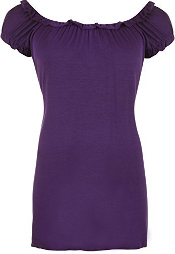 Neu Übergröße Damen Gypsy Boho Damen Kurzarm Stretch T-Shirt Top 12-30 - Lila, UK 20