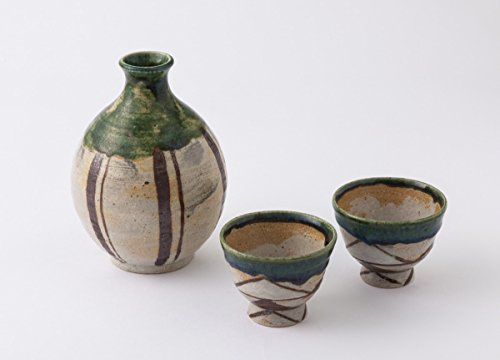 TOKYO ART GALLERY ISHIHARA - HIROSHI YAMAZAKI : Sake Bottle & 2 Cup Set (B) Japanese Pottery Ceramic [Standard ship by Int'l e-packet: with Tracking & Insurance] by Tokyo Art Gallery ISHIHARA