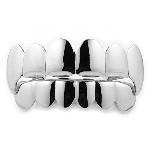 White Gold Plated Vampire Fang Grillz Top and Bottom SET