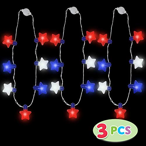 JOYIN 3 Pack Patriotic LED Necklaces Party Supplies with 6 Different Flicker Modes 4th of July Party Accessory Party Favors -