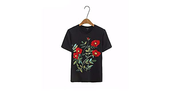 Virtual Store USA women sweet floral embroidery T shirt o neck short sleeve black tees ladies summer casual brand tops camisetas DT1179 at Amazon Womens ...
