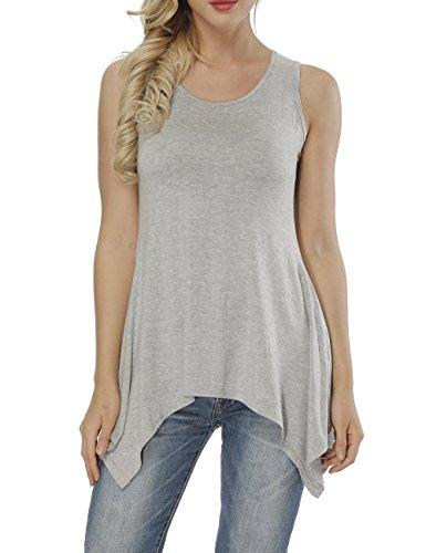 a287f3ba1eb Haola Women Sleeveless Tunic Tops Summer Loose Solid Swing Flare Plus Size  Tee Shirt Blouse