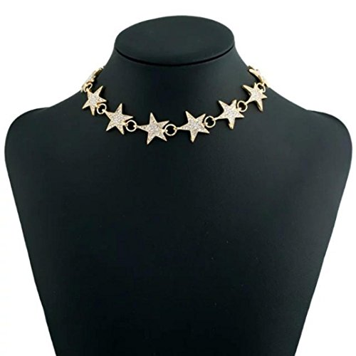 Punk Style Alloy Crystal Rhinestone Golden Chain Necklace Choker Jewerly (Gold) ()