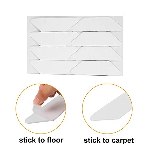 Yelanon Rug Grippers, 8pcs white Anti Curling Carpet Gripper, Renewable Washable Non Slip Tape Pad For Rug, Keeps Your Carpet Edges and Corners Flat, Strong Stickiness Without Hurting Floor by Yelanon (Image #4)