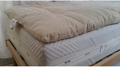 Futon Italy – Corrector de colchón de 4 cm de Altura, cubrecolchón, Relleno de Puro algodón granulado futón hipoalergénico, antiácaros, antiestático, Antibacteriano, Funda 100% algodón Natural Crudo: Amazon.es: Hogar