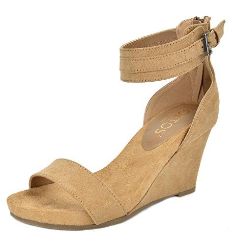 TOETOS Women's Solsoft-5 Nude Mid Heel Platform Wedges Sandals - 7.5 M US