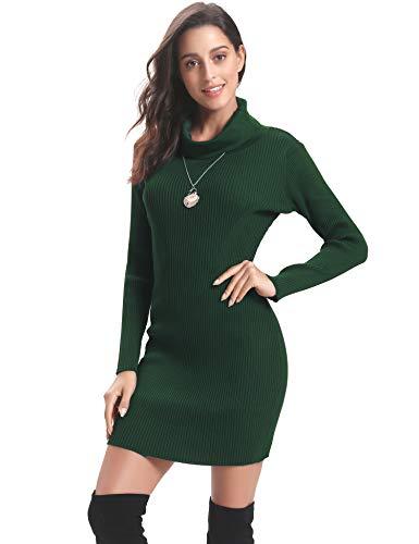 Invernali Girocollo Manica Regalo A Verde Collo Dolcevita Abollria Ideale Donna Lungo Lunga Vestito vestito Maglieria Eleganti Pullover Maglione E Maglieria Foresta Maglioni Caldo Alto UwqxEx604