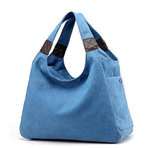 iDamtok Shoulder Hobo Canvas Totes Handbag Handles Bag Large Womens Top Blue Capacity wrtpxEwq5