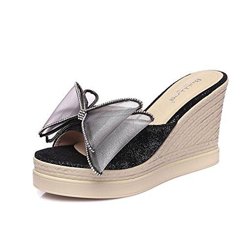 FEIFEI Sandalias de verano de las mujeres Plataforma impermeable Mariposa Rhinestone del nudo Zapatillas Bohemia Sandalias de tacón bajo de punta abierta Zapato inferior grueso 9CM ( Color : Negro , T Negro