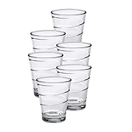 Duralex Made in France Spiral Glass Tumbler Drinking Glasses, 12.38 ounce – Set of 6, Clear