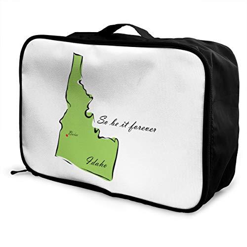 State Of Idaho Lightweight Large Capacity Portable Luggage Bag Fashion Travel Duffel Bag