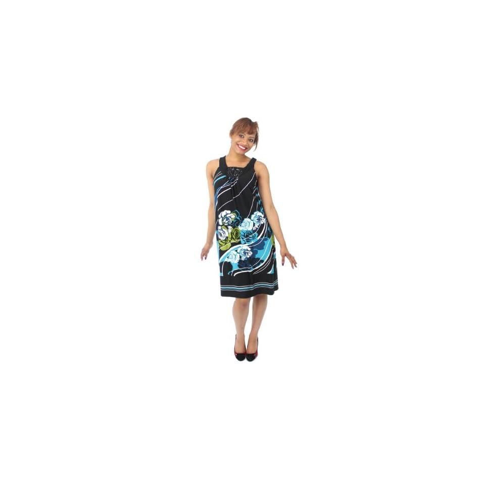 Elementz Dress, Women's Floral Print Beaded Sleeveless Dress Multi (Medium)