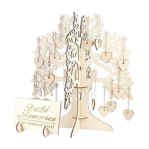 Exteren Wooden Wedding Guest Book Hanging Tags Decor Tree Wooden Hearts Pendant Drop Ornaments Party Decoration Set of 100pc (Khaki)