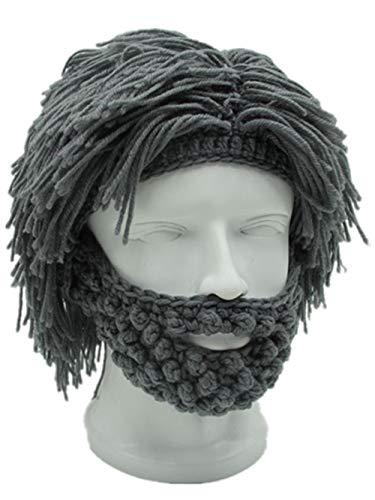 Beard Winter Novelty Hat Creative Wig Viking Big Long Wool Hat Facemask Beanie for Men Women Warm Funny Ski Cap -