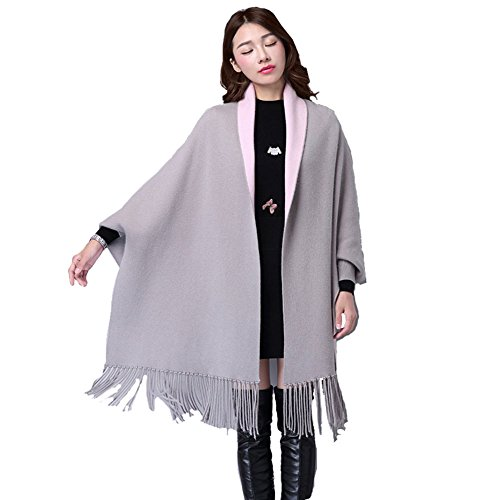 Sleeve Knit Wrap (Saikey Women's Double Sided Bat Sleeve Knit Soft Cardigan Shawl Fringed Cape Warm Sweater Coat (Grey))