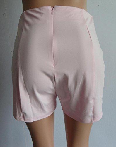 Moda Bottoni Pantaloncini Shorts Skinny Rosa Vita Chiaro Alta A Con Donne UPw77