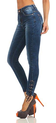 36 Femme Fonc Jeans XS noir Fashion4Young Bleu Bleu wBWX5q8Px