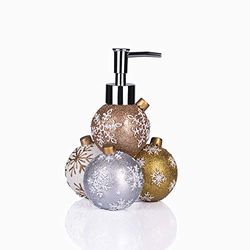 GreenDisplay Multicolor Christmas Ball Soap/Lotion Dispenser (Gold, Silver, Bronze and White Finish)