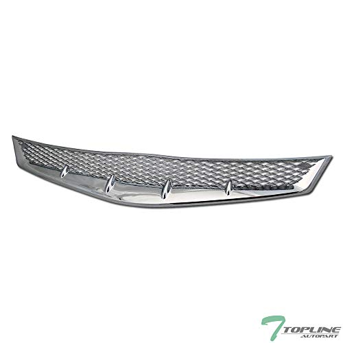 Billet Civic Grilles Honda - Topline Autopart Chrome T-R Mesh Front Hood Bumper Grill Grille ABS For 06-08 Honda Civic 2 Door Coupe