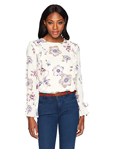 rinted Long Volume Sleeve Top With Ruffles, Lavender Floral, XS (Ruffle Printed Shell)