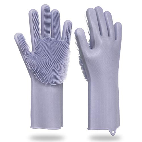 FantasyParty Magic Eco-Friendly Silicone Gloves with Wash Scrubber,Reusable Brush Heat Resistant Gloves Kitchen Tool for Kitchen, Bathroom and Pet, (Grey,1 Pair)
