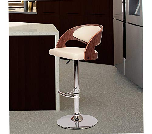 Deluxe Premium Collection Malibu Swivel Barstool in Cream Faux Leather and Chrome Finish Decor Comfy Living Furniture